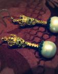 corona teschi orecchini